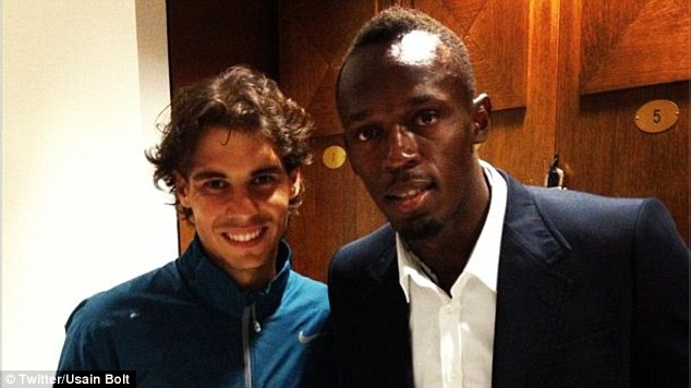 Towering above the rest: Spanish basketballer Pau Gasol joins Nadal and Bolt in the locker room after the match
