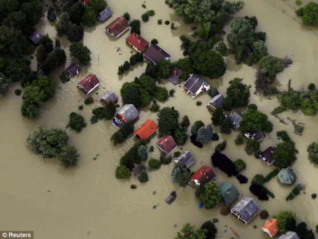No roads were left visible in the partially submerged village of Nagymaros, 37 miles west of Budapest