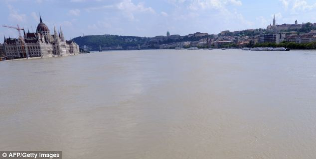The flooded water of River Danube rolling along at Margareth Island in Budapest