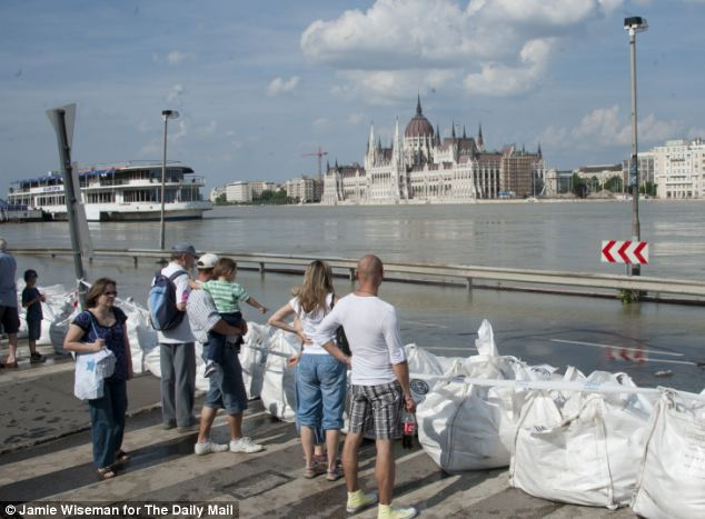 The River Danube in the centre of Budapest in Hungary is nearly 29ft higher than normal