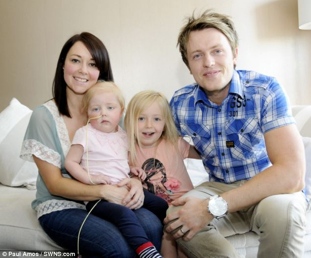 Cancer: Parents Zoe and Danny Stanton took daughter Sofia, two, (pictured left with sister Ava, five, right) to their GP four times but were told each time she had a cold or chest infection