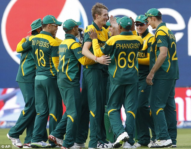 Off the mark: South Africa recorded their first win in the Champions Trophy after beating Pakistan