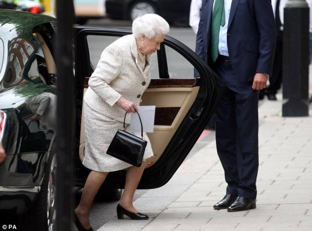 It was the Queen's first visit to the hospital since Prince Philip was admitted last week