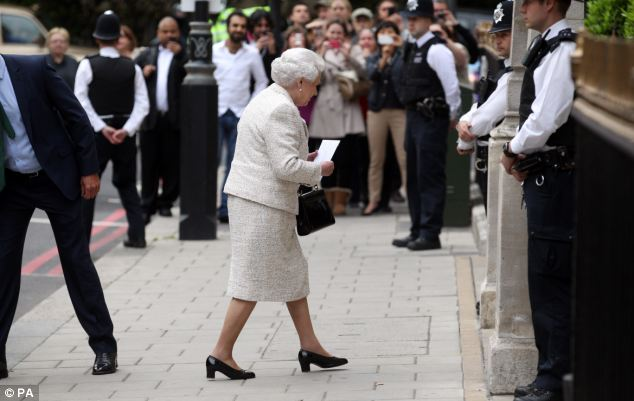 A crowd gathered at the London Clinic as the Queen arrived at about 7pm on Monday