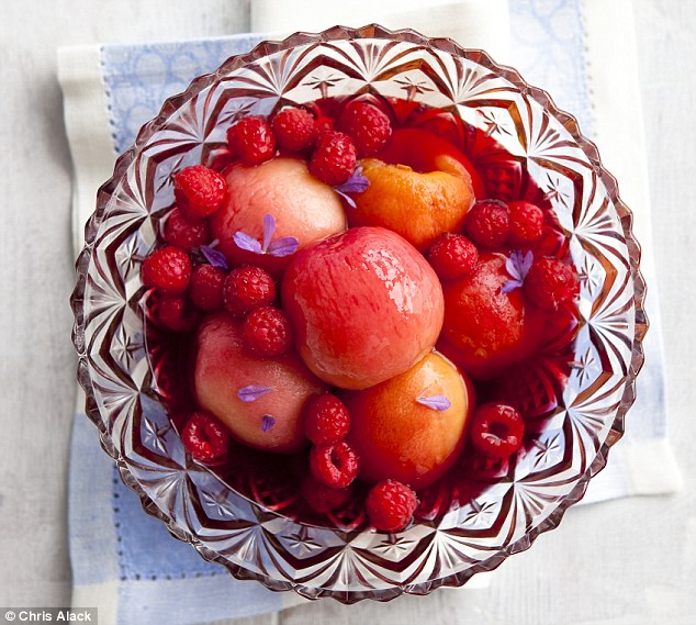 Peaches in Rose with Lavender