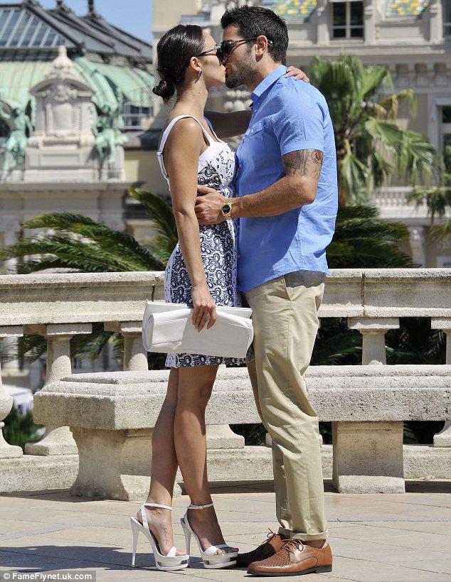 He's on a lucky streak: Jesse Metcalfe kissed his fiancée Cara Santana outside the Monte Carlo casino on Sunday
