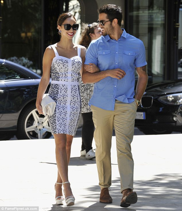 Romance is in the air: The actor and his girlfriend enjoyed the sights as they strolled around the area