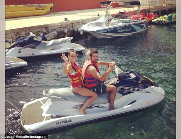 Off we go: The pair enjoyed a jet ski ride together during their fun-filled afternoon