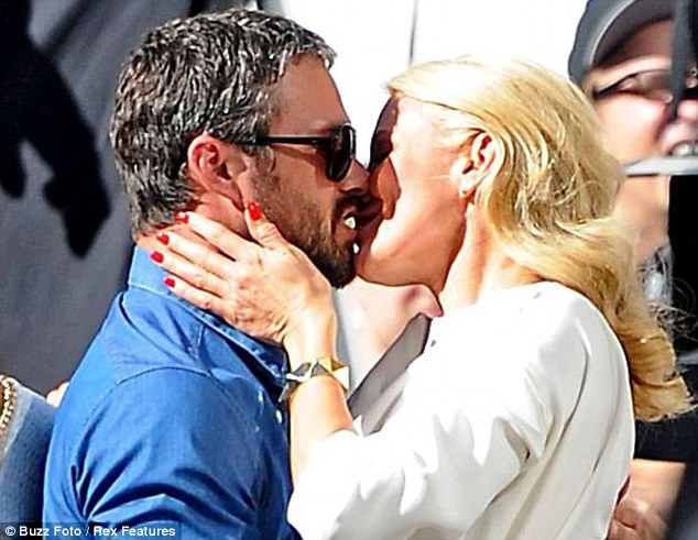 Getting steamy: The pair were seen filming a kiss scene as they shot scenes for the film earlier this month