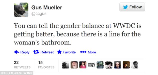Gauge: Tweets at the conference mention the long line - but claim there are now more women