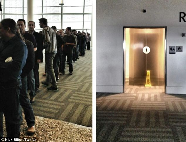 Not there yet: Another image compares the ridiculous queue for men to the non-existent ladies' line