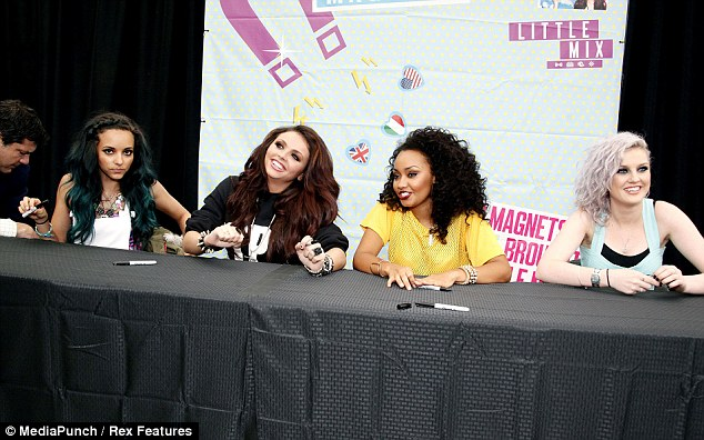 Feeling good: Jesy was clearly happy to be in New Jersey with her Little Mix bandmates