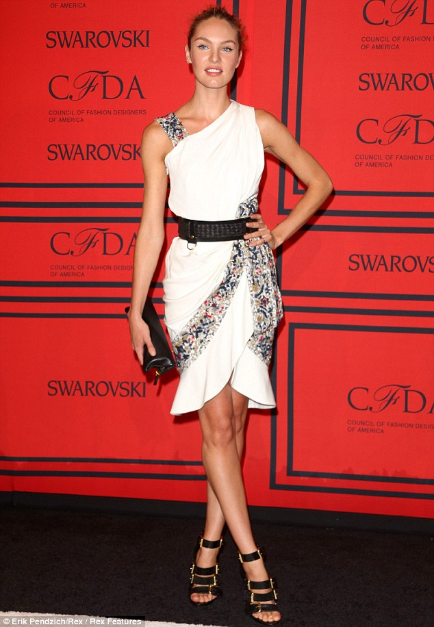On the red carpet: Last week, Swanepoel dazzled the CFDA Awards in New York clad in a white Prabal Gurung dress and towering gladiator heels