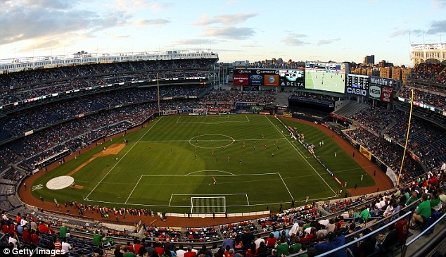 Different kind of pitch: The match took place at the world famous Yankee Stadium in the Bronx, New York