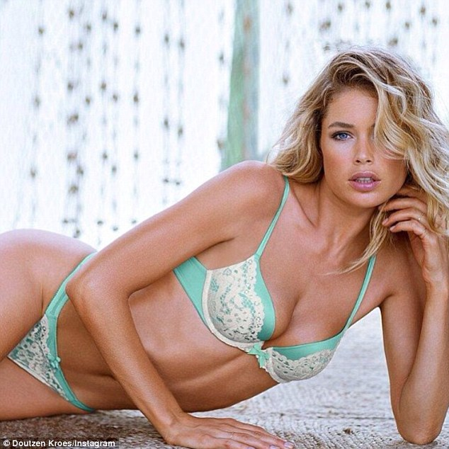 Another Angel: Candice's fellow VS Angel Doutzen Kroes also posted an Instagram of herself in lacy bra and panties on Wednesday