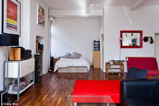 Smaller: Unlike the mansion in Northumberland, which has five bedrooms, the studio flat comes with just one