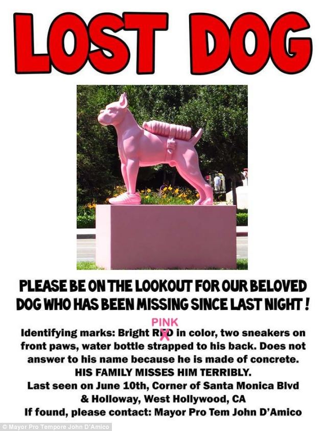 Organizers have put up these fly posters in the West Hollywood area as they attempt to track down the missing statue