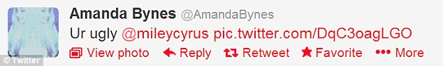 Latest 'ugly' target: Amanda Bynes directed her favourite slur at Miley this week