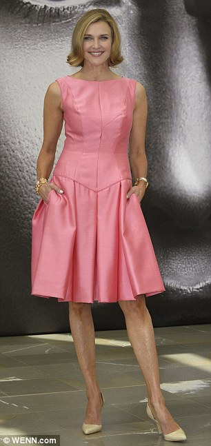 Originals: Linda Gray easily defied her 72 years in a snug orange long-sleeve dress, while Brenda Strong went for a 1950's retro look in her pink full-skirted frock