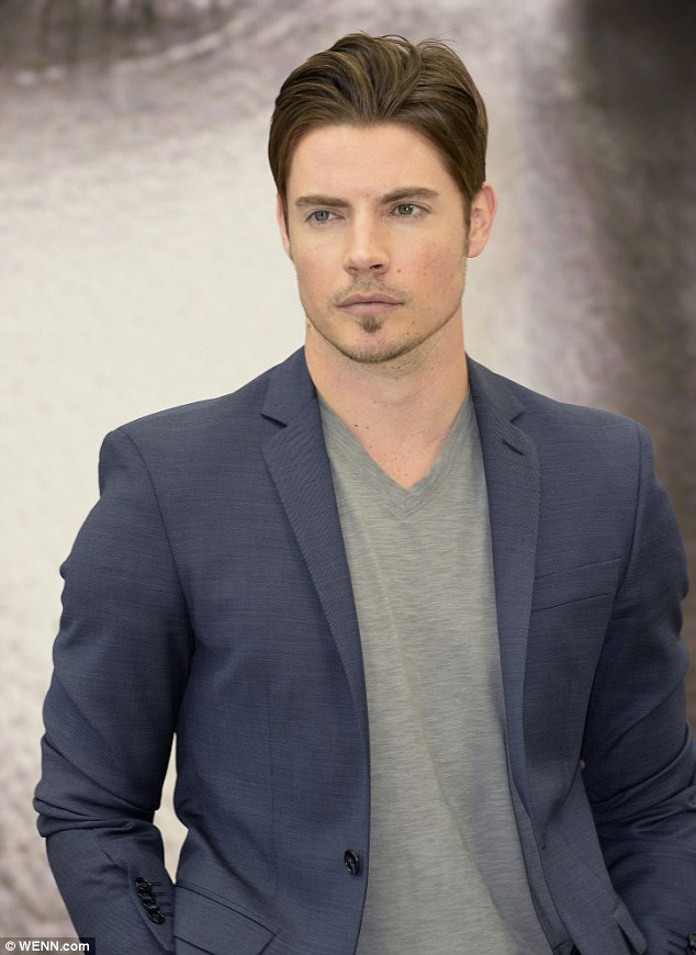 Blue steel: J.R. Junior, played by Josh Henderson, opted for a blue blazer over a grey T-shirt, and dark blue jeans
