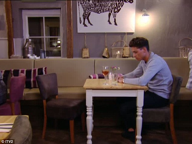 More time: Joey is left sitting alone after Sam storms off