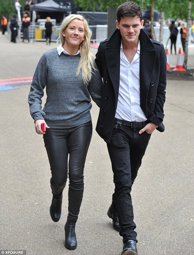 Different look: Ellie looked a lot paler and had longer hair as she stepped out with Jeremy Irvine last month