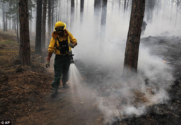 Hopeful: After the controlled burn, workers drench the area in Black Forest, Colorado, hoping to keep the blaze back