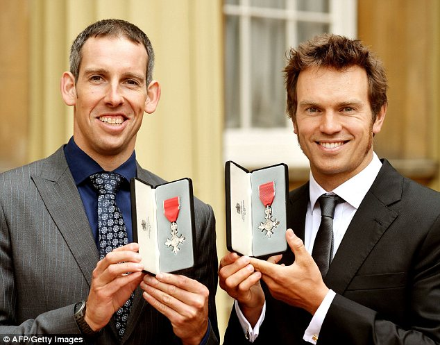 Double delight: Olympic Canoe Slalom gold medallists Etienne Stott (left) and Timothy Baillie at Buckingham Palace