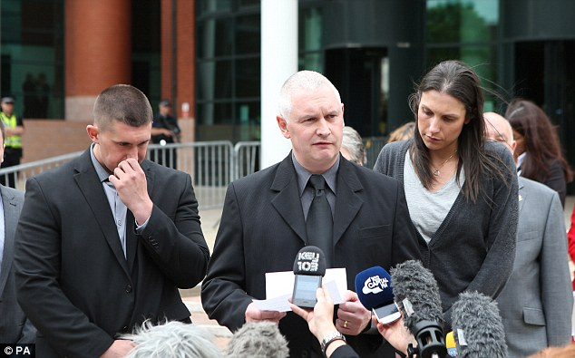 Tribute: Bryn Hughes, father of Pc Nicola Hughes, reads a statement outside Preston Crown Court after Dale Cregan was told today he will die in prison