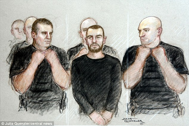 Earlier hearing: Cregan is surrounded by five police officers at Manchester Magistrates' Court last September