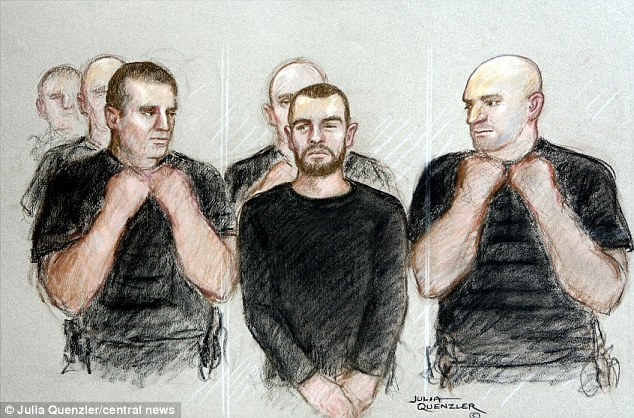 Jailed for life: Sketched, surrounded by five policemen in the dock, Dale Cregan was told he will die in jail