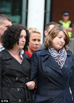Pc Fiona Bone's partner Clare Curran and sister Vicky Bone, outside Preston Crown Court