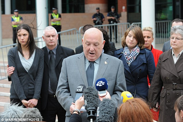 Sadness: Paul Bone, father of Pc Fiona Bone, makes a statement outside Preston Crown Court