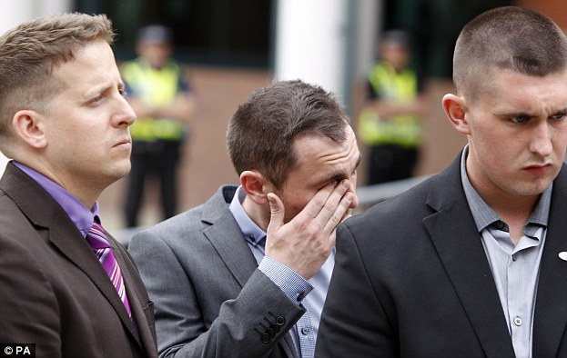 Gareth Cleminson (centre), the boyfriend of Nicola Hughes, was among grieving loved ones at court today