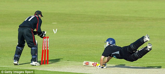 New age: Simon Katich dives to make his ground in the first ever Twenty20 game between Hampshire and Sussex