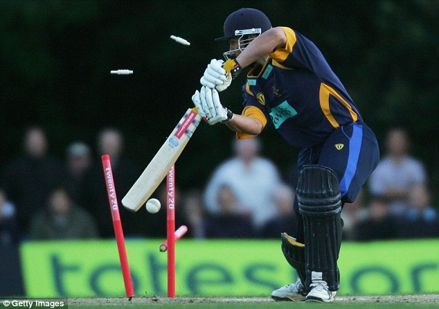 Stumps flying: Hampshire's Nic Pothas is bowled all ends up in 2006