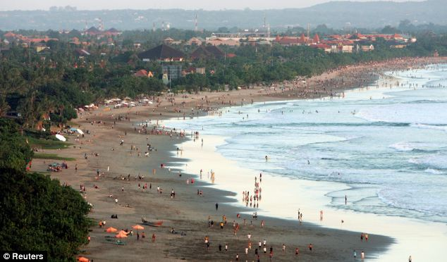 Kuta beach on the Indonesian resort island of Bali
