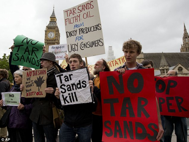 Demonstration: Protesters outside Parliament during a visit by Canadian prime minister Stephen Harper