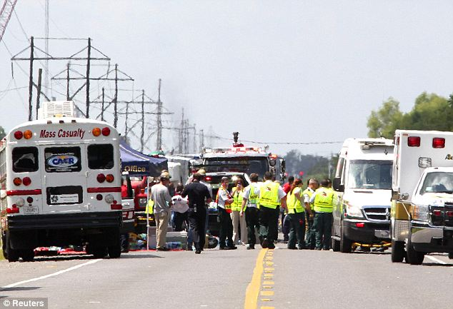 Mass casualties? Rescue workers set up a triage near the Ascension Parish, Louisiana parish June 13. At least 30 injuries were reported after a massive explosion at a petrochemical plant