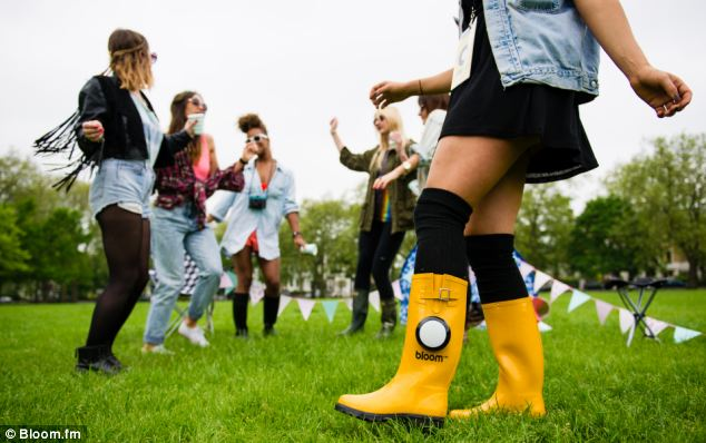 Created by mobile music service Bloom.fm, these bright yellow 'Bloom Boots' come with a built-in sound system that connects to any Bluetooth-enabled device and can play music wirelessly wherever you are