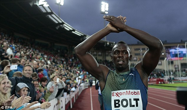 Still go it: Usain Bolt blasted away from the field to win in a time of 19.79, a meeting record