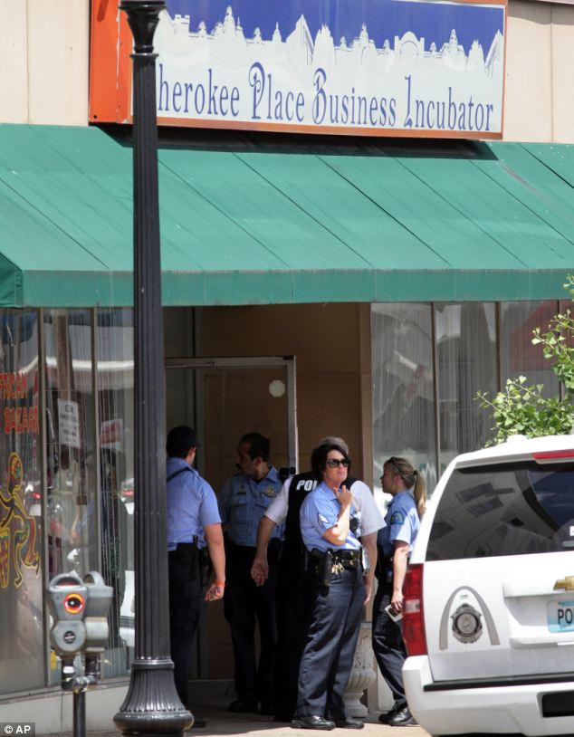 Scene: The shooting is believed to have broken out at a healthcare office in this building in south St Louis