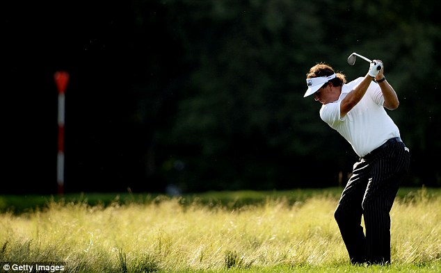 In the hunt: Mickelson began with a bogey but had a solid run through the front nine