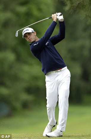 Billy whizz: Horschel tees off on the eighth