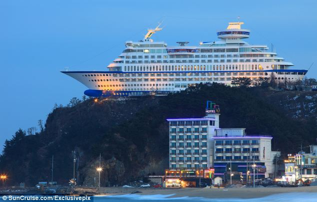 The Sun Cruise resort looks like it is teetering off the edge of a cliff but it's really in ship shape