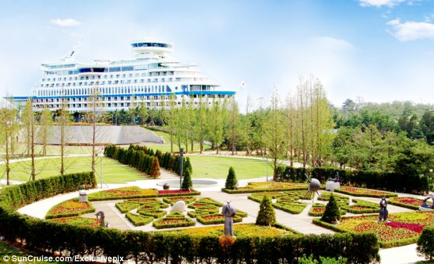 Guests can 'come ashore' and light up the barbecue in the ship's gardens