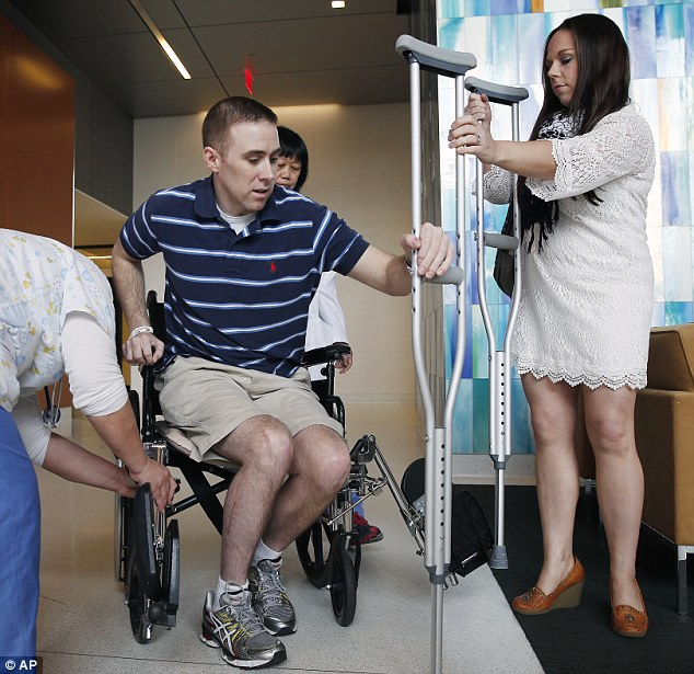 Strength: He still has a bullet in his leg and suffered nerve damage, but ditched his wheelchair for crutches