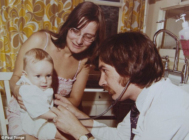 Back in the good old days: Simon pictured with mum Sharon Hopkins in 1976 for a poster for Nottingham children's Hospital to promote parental involvement