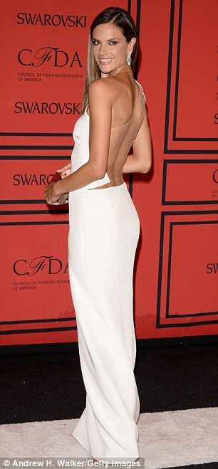 Last week: Ambrosio dazzled the CFDA Awards in New York clad in a white backless creation from designers KaufmanFranco, who are favourites of Taylor Swift