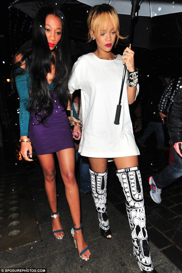 Girls night out: The 25-year-old singer hit the town hard with a female friend